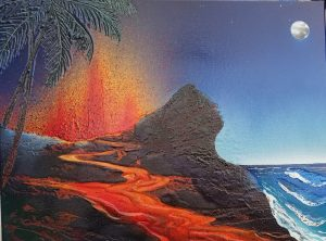 "this is a painting of ""Pele"" the goddess of fire."